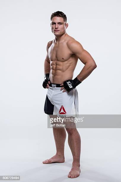 Drew Dober poses for a portrait during a UFC photo session inside the MGM Grand Conference Center on December 30 2015 in Las Vegas Nevada