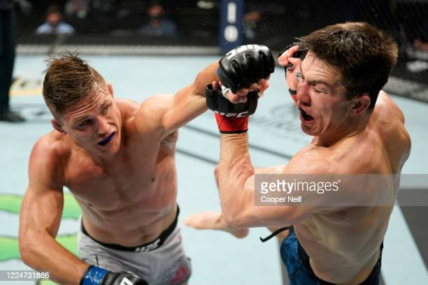 Drew Dober punches Alexander Hernandez in their bantamweight bout during the UFC Fight Night Event at VyStar Veterans Memorial Arena on May 13 2020...
