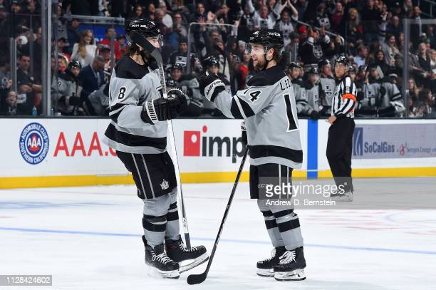Drew Doughty and Brendan Leipsic of the Los Angeles Kings celebrate Leipsic's third-period goal during the game against the Chicago Blackhawks at...