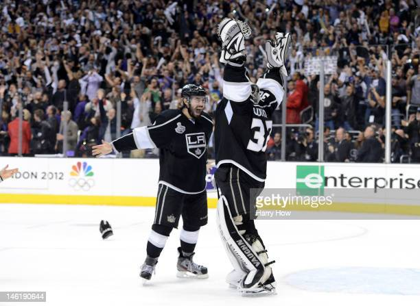 Drew Doughty and Jonathan Quick of the Los Angeles Kings celebrate the Kings 61 victory as they win the Stanley Cup in Game Six of the 2012 Stanley...