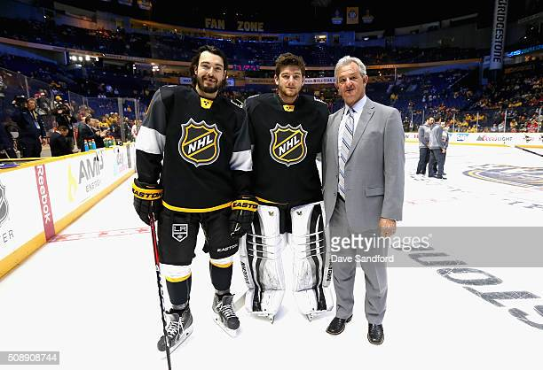 Drew Doughty goaltender Jonathan Quick and head coach Darryl Sutter of the Los Angeles Kings stand on the ice before the start of the 2016 Honda NHL...