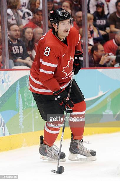 Drew Doughty in action during the ice hockey men's preliminary game between Canada and USA on day 10 of the Vancouver 2010 Winter Olympics at Canada...