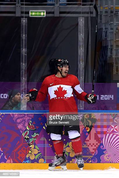 Drew Doughty of Canada celebrates after scoring the game winning goal in overtime against Tuukka Rask of Finland during the Men's Ice Hockey...
