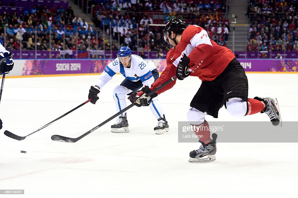 Drew Doughty #8 of Canada scores the game winning goal in overtime against Tuukka Rask #40 of Finland during the Men's Ice Hockey Preliminary Round Group B game on day nine of the Sochi 2014 Winter Olympics at Bolshoy Ice Dome on February 16, 2014 in Sochi, Russia.