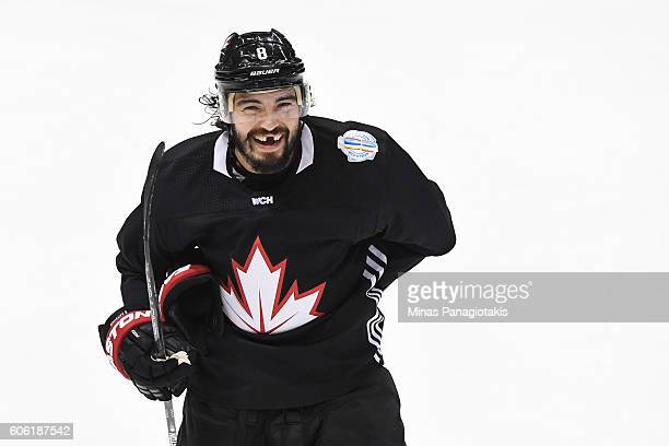 Drew Doughty of Team Canada reacts during practice at the World Cup of Hockey 2016 at Air Canada Centre on September 16 2016 in Toronto Ontario Canada