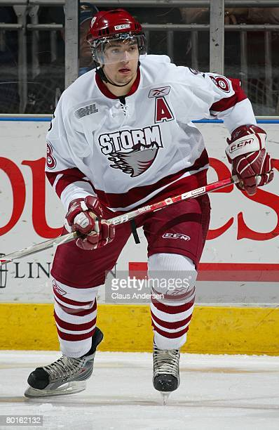 Drew Doughty of the Guelph Storm skates in a game against the London Knights on March 6 2008 at the John Labatt Centre in London OntarioThe Knights...