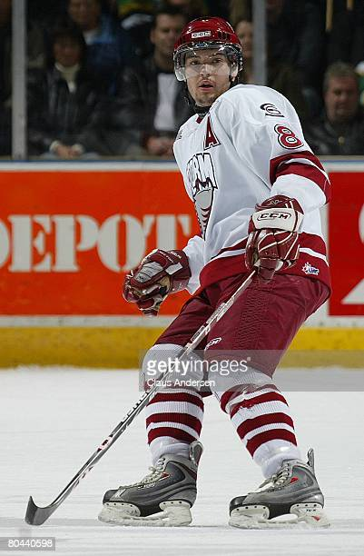 Drew Doughty of the Guelph Storm skates in a playoff game against the London Knights on March 28 2008 at the John Labatt Centre in London Ontario The...