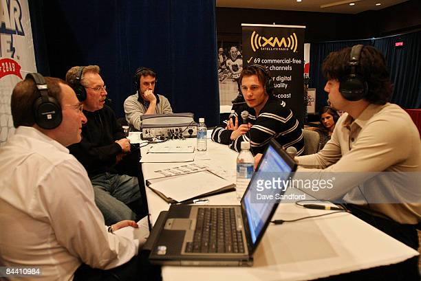 Drew Doughty of the Los Angeles Kings and Luke Schenn of the Toronto Maple Leafs speak to the press at the NHL YoungStars media availablity during...