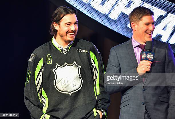Drew Doughty of the Los Angeles Kings and Team Foligno smiles onstage during the NHL AllStar Fantasy Draft as part of the 2015 NHL AllStar Weekend at...
