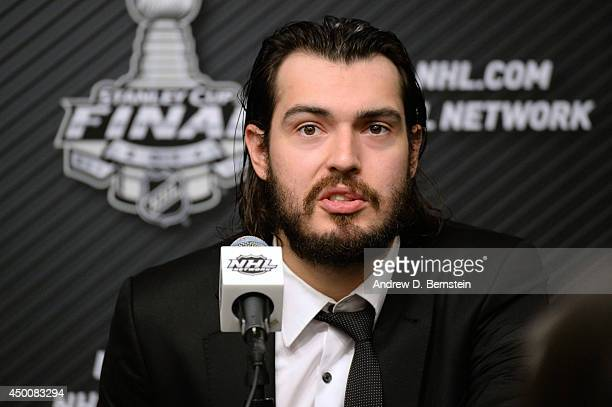 Drew Doughty of the Los Angeles Kings answers questions from the media following his team's victory over the New York Rangers in Game One of the...