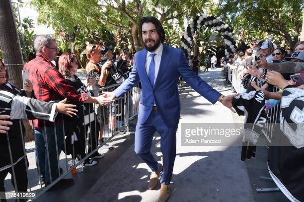 Drew Doughty of the Los Angeles Kings arrives before the Los Angeles Kings game against the Nashville Predators at STAPLES Center on October 12 2019...