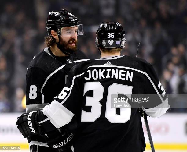 Drew Doughty of the Los Angeles Kings celebrate his goal with an assist from Jussi Jokinen to tie the game 1-1 with the Boston Bruins during the...