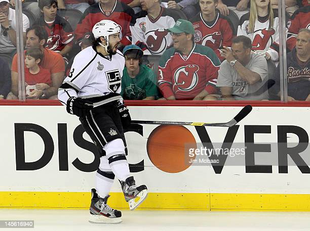 Drew Doughty of the Los Angeles Kings celebrates after scoring a goal in the first period against the New Jersey Devils during Game Two of the 2012...