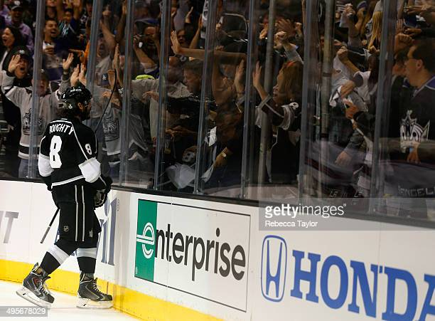 Drew Doughty of the Los Angeles Kings celebrates his goal against the New York Rangers in the second period of Game One of the 2014 Stanley Cup Final...