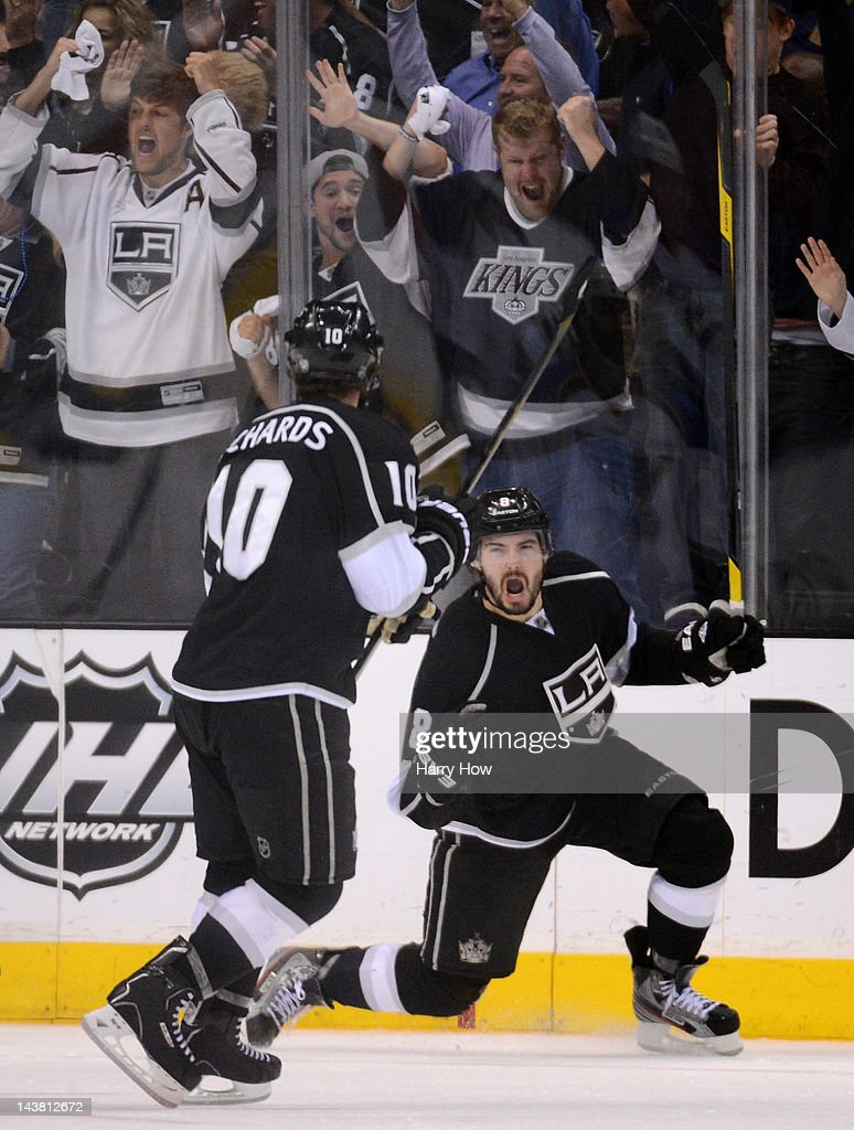 Drew Doughty #8 of the Los Angeles Kings celebrates his third period goal with teammate Mike Richards #10 against the St. Louis Blues in Game Three of the Western Conference Semifinals during the 2012 NHL Stanley Cup Playoffs at Staples Center on May 3, 2012 in Los Angeles, California.