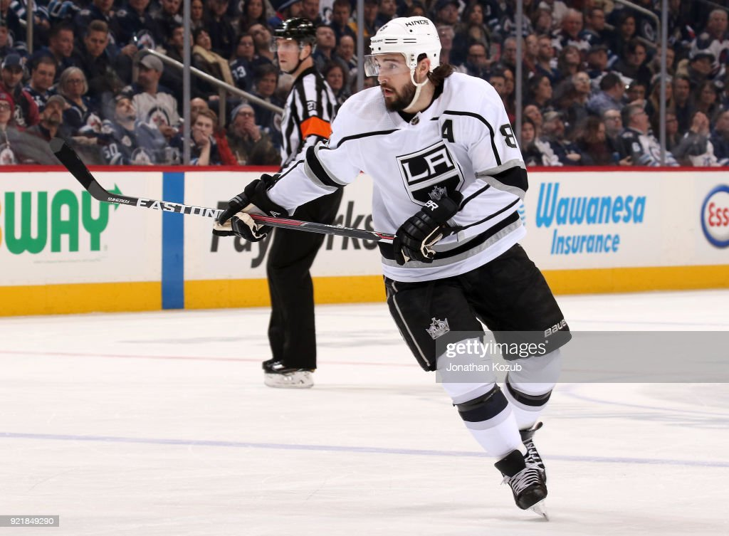 Drew Doughty #8 of the Los Angeles Kings follows the play up the ice during first period action against the Winnipeg Jets at the Bell MTS Place on February 20, 2018 in Winnipeg, Manitoba, Canada.