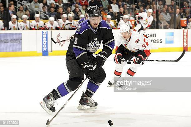 Drew Doughty of the Los Angeles Kings handles the puck against the Ottawa Senators during the game on December 3, 2009 at Staples Center in Los...