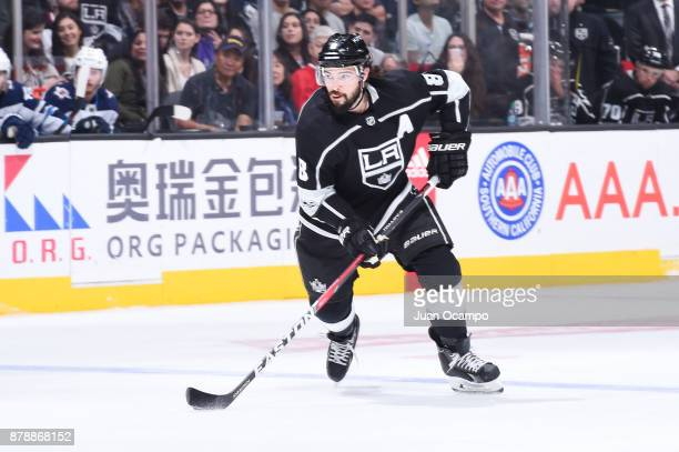 Drew Doughty of the Los Angeles Kings handles the puck during a game against the Winnipeg Jets at STAPLES Center on November 22 2017 in Los Angeles...