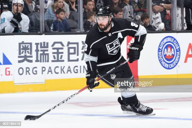Drew Doughty of the Los Angeles Kings handles the puck during a game against the San Jose Sharks at STAPLES Center on January 15 2018 in Los Angeles...