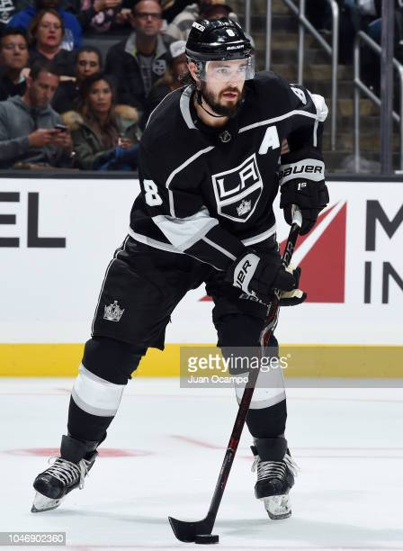 Drew Doughty of the Los Angeles Kings handles the puck during the second period of the preseason game against the Anaheim Ducks at STAPLES Center on...