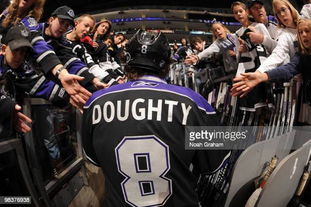 Drew Doughty of the Los Angeles Kings leaves the ice after warming up prior to the game against the Edmonton Oilers on April 10, 2010 at Staples...