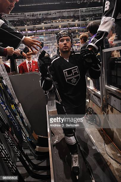 Drew Doughty of the Los Angeles Kings leaves the ice after warming up prior to taking on the Vancouver Canucks in Game Three of the Western...