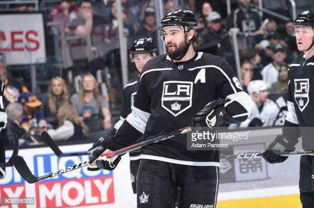 Drew Doughty of the Los Angeles Kings looks on during a game against the San Jose Sharks at STAPLES Center on January 15 2018 in Los Angeles...