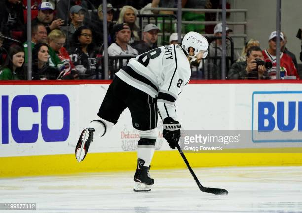 Drew Doughty of the Los Angeles Kings prepares to shoot the puck during an NHL game against the Carolina Hurricanes on January 11 2020 at PNC Arena...