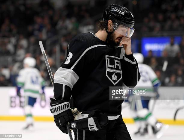 Drew Doughty of the Los Angeles Kings reacts after a power-play goal from Elias Pettersson of the Vancouver Canucks for a 5-2 lead during the third...