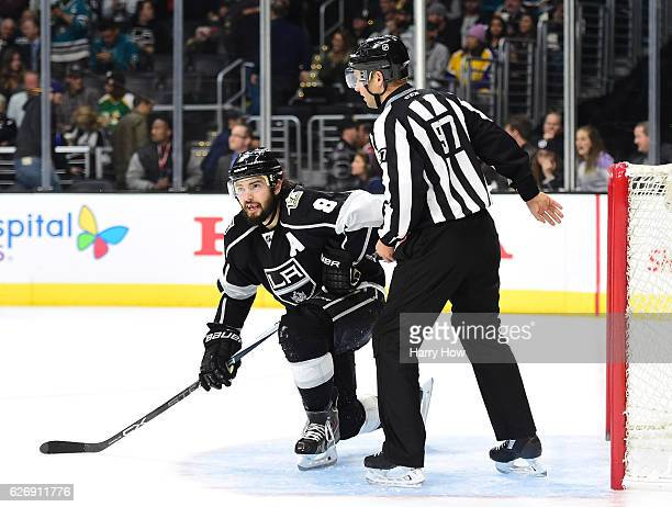 Drew Doughty of the Los Angeles Kings reacts to an empty net goal by the San Jose Sharks during the final minutes of the game to trail 41 at Staples...