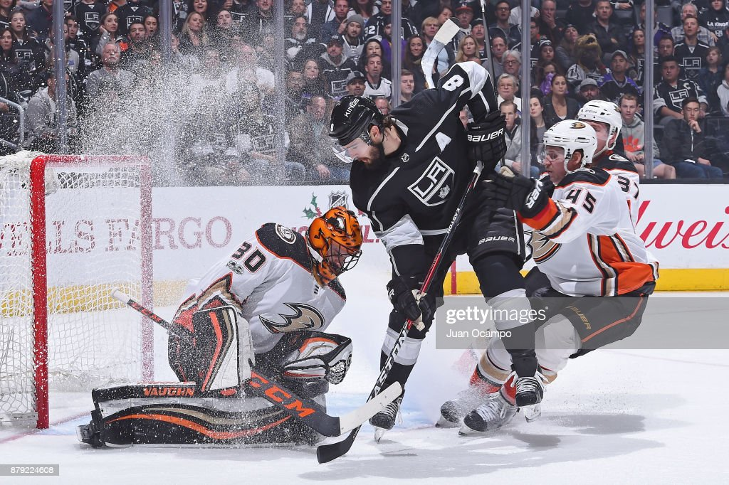 Drew Doughty #8 of the Los Angeles Kings shoots the puck against Ryan Miller #30 of the Anaheim Ducks at STAPLES Center on November 25, 2017 in Los Angeles, California.