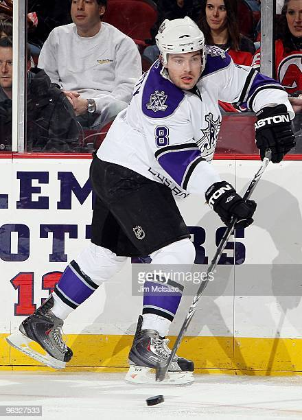Drew Doughty of the Los Angeles Kings skates against the New Jersey Devils at the Prudential Center on January 31, 2010 in Newark, New Jersey. The...