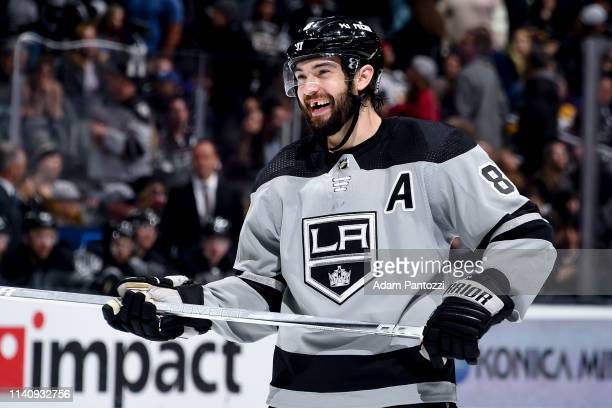 Drew Doughty of the Los Angeles Kings smiles during the third period of the game against the Vegas Golden Knights at STAPLES Center on April 6 2019...