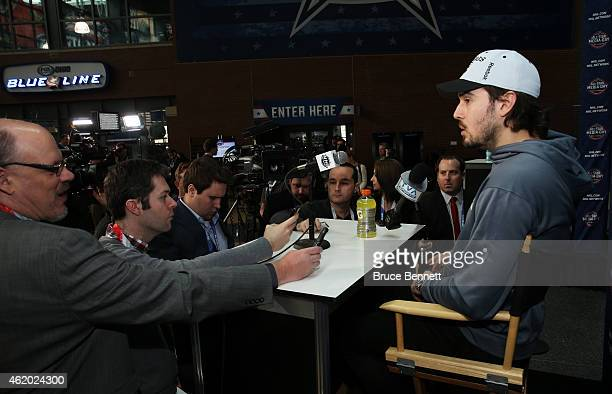 Drew Doughty of the Los Angeles Kings speaks during Media Availability for the 2015 NHL AllStar Weekend at the Nationwide Arena on January 23 2015 in...