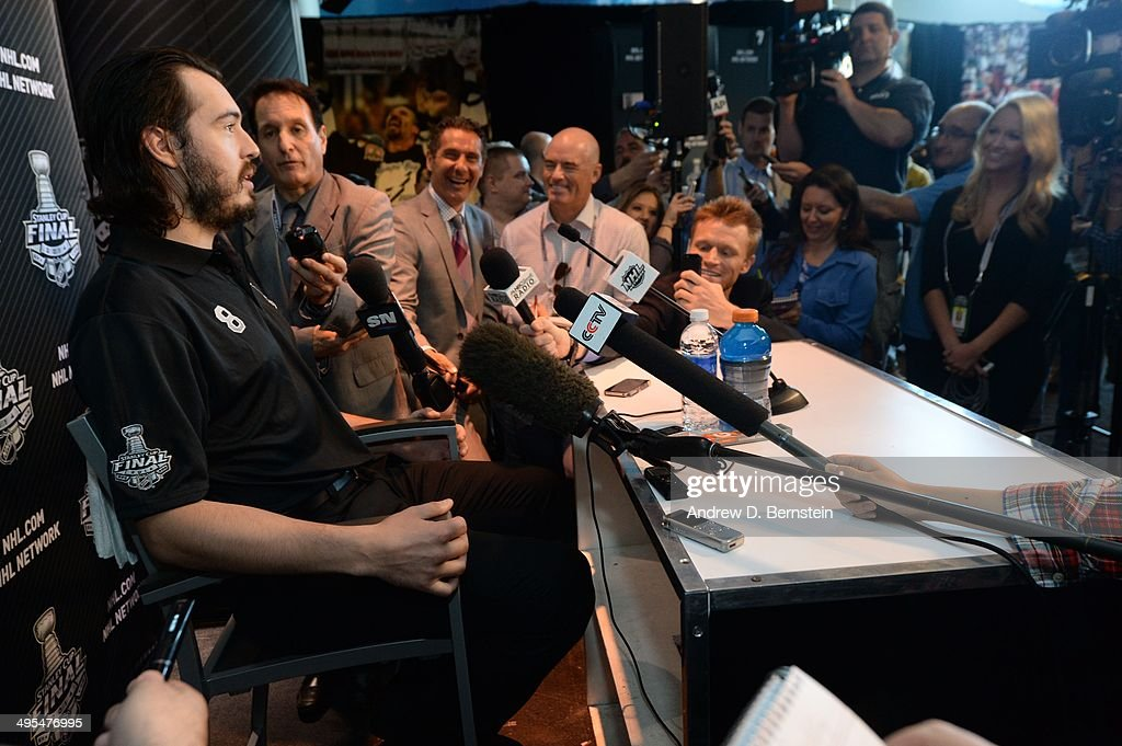 Drew Doughty #8 of the Los Angeles Kings speaks to the media during the 2014 NHL Stanley Cup Final Media Day at Staples Center on June 3, 2014 in Los Angeles, California.