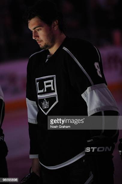 Drew Doughty of the Los Angeles Kings stands on the ice prior to taking on the Vancouver Canucks in Game Three of the Western Conference...