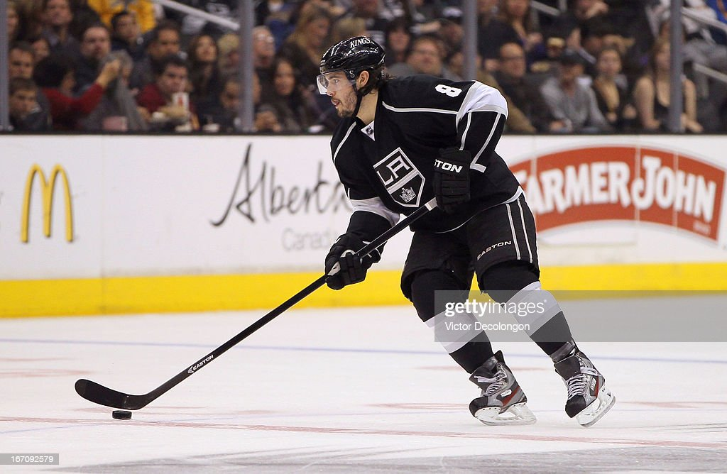 Drew Doughty #8 of the Los Angeles Kings stickhandles the puck through the neutral zone in the second period of the NHL game against the Columbus Blue Jackets at Staples Center on April 18, 2013 in Los Angeles, California. The Kings defeated the Blue Jackets 2-1.