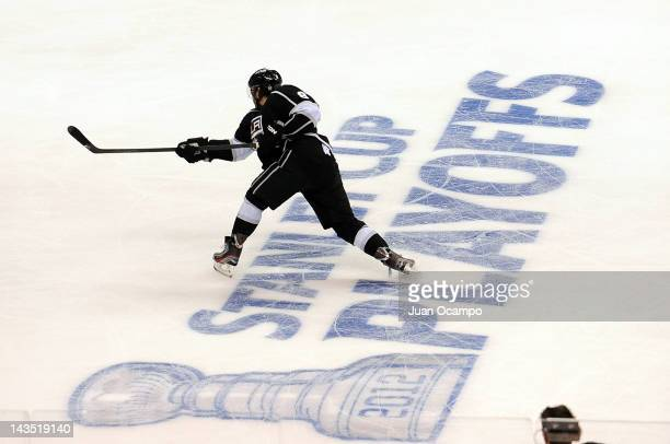 Drew Doughty of the Los Angeles Kings takes a shot against the Vancouver Canucks in Game Four of the Western Conference Quarterfinals during the 2012...
