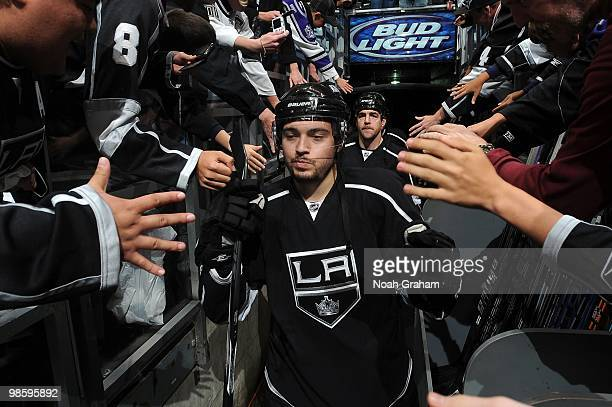 Drew Doughty of the Los Angeles Kings takes the ice to warm up prior to taking on the Vancouver Canucks in Game Three of the Western Conference...