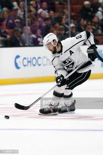 Drew Doughty of the Los Angeles Kings takes the puck down the ice during the third period against the Anaheim Ducks at Honda Center on March 10 2019...