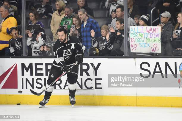 Drew Doughty of the Los Angeles Kings warms up before a game against the San Jose Sharks at STAPLES Center on January 15 2018 in Los Angeles...