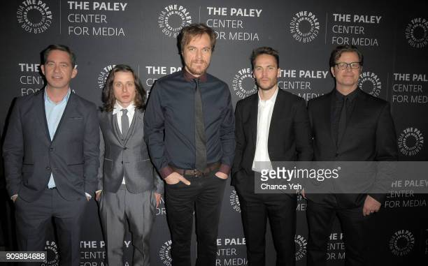 Drew Dowdle Rory Culkin Michael Shannon Taylor Kitsch and John Erick Dowdle attend Waco world premiere screening at The Paley Center for Media on...