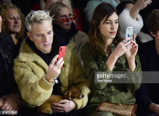 Drew Elliott and Alexa Chung attend the Christian Cowan fashion show during New York Fashion Week The Shows at Gallery II at Spring Studios on...