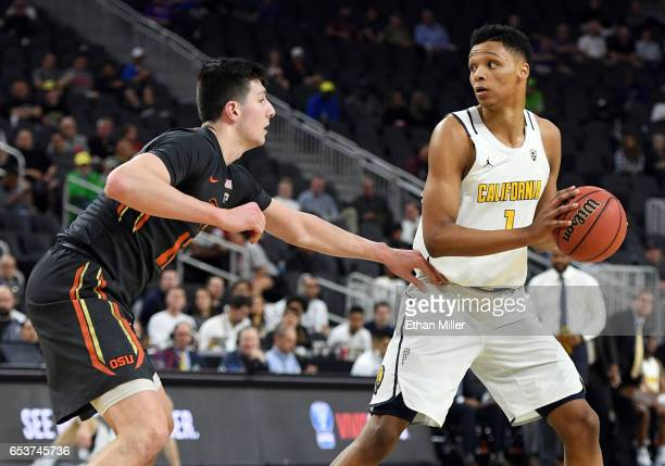 Drew Eubanks of the Oregon State Beavers guards Ivan Rabb of the California Golden Bears during a firstround game of the Pac12 Basketball Tournament...