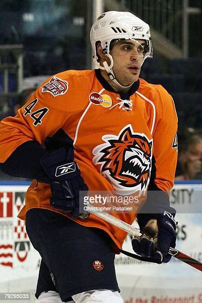 Drew Fata of the Bridgeport Sound Tigers skates during the second period against the Philadelphia Phantoms on January 23, 2008 at the Arena at Harbor...