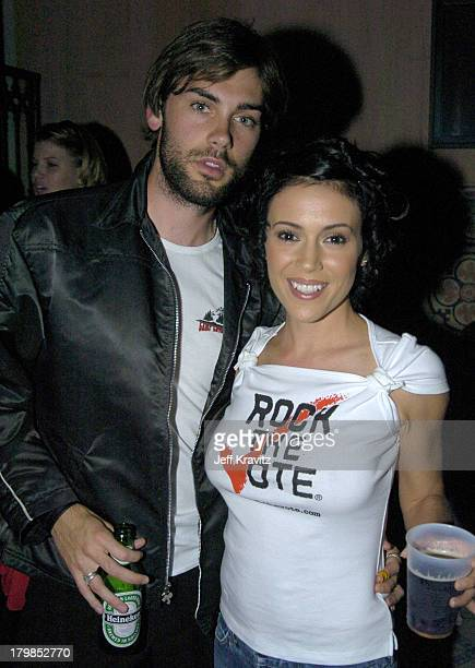 Drew Fuller and Alyssa Milano during Rock The Vote 2004 National Bus Tour Concert June 16 2004 at Avalon in Hollywood California United States