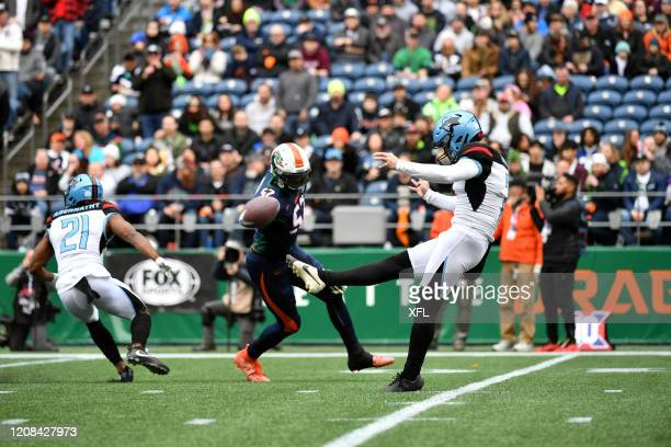 Drew Galitz of the Dallas Renegades punts the ball during the XFL game against the Seattle Dragons at CenturyLink Field on February 22, 2020 in...