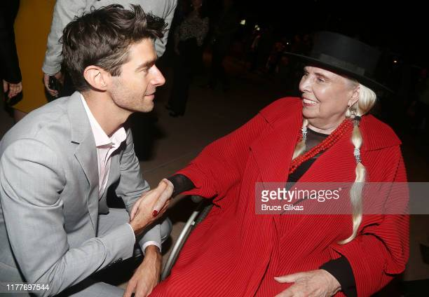 """Drew Gehling and Joni Mitchell chat at the opening night of the new musical """"Almost Famous"""" at The Old Globe Theatre on September 27, 2019 in San..."""