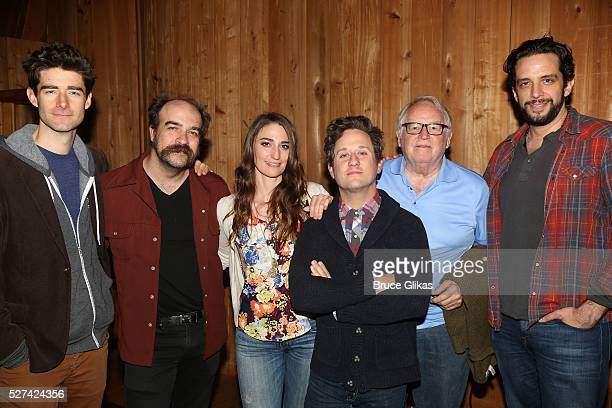 Drew Gehling Eric Anderson Sara Bareilles Christopher Fitzgerald Dakin Matthews and Nick Cordero pose at the Waitress Original Broadway Cast Album...