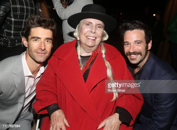 """Drew Gehling, Joni Mitchell and Colin Donnell pose at the opening night of the new musical """"Almost Famous"""" at The Old Globe Theatre on September 27,..."""
